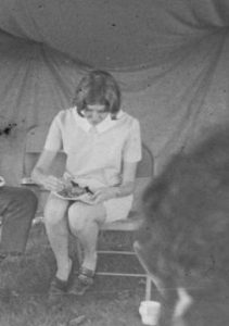 Carolyn Burr on a lunch break in 1971. Carolyn has devoted a lifetime career in public health research, especially on AIDS transmission in newborns, deeply influenced by the Coalition experience.