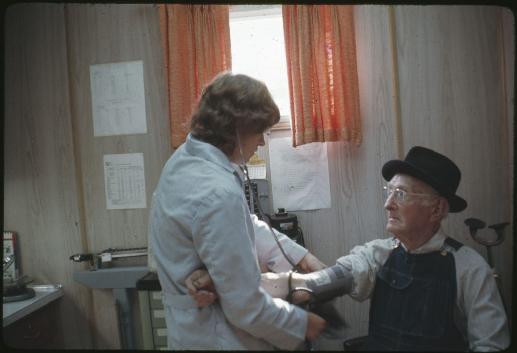Patient being seen at the Stoney Fork Clinic. Campbell County, Tennessee.