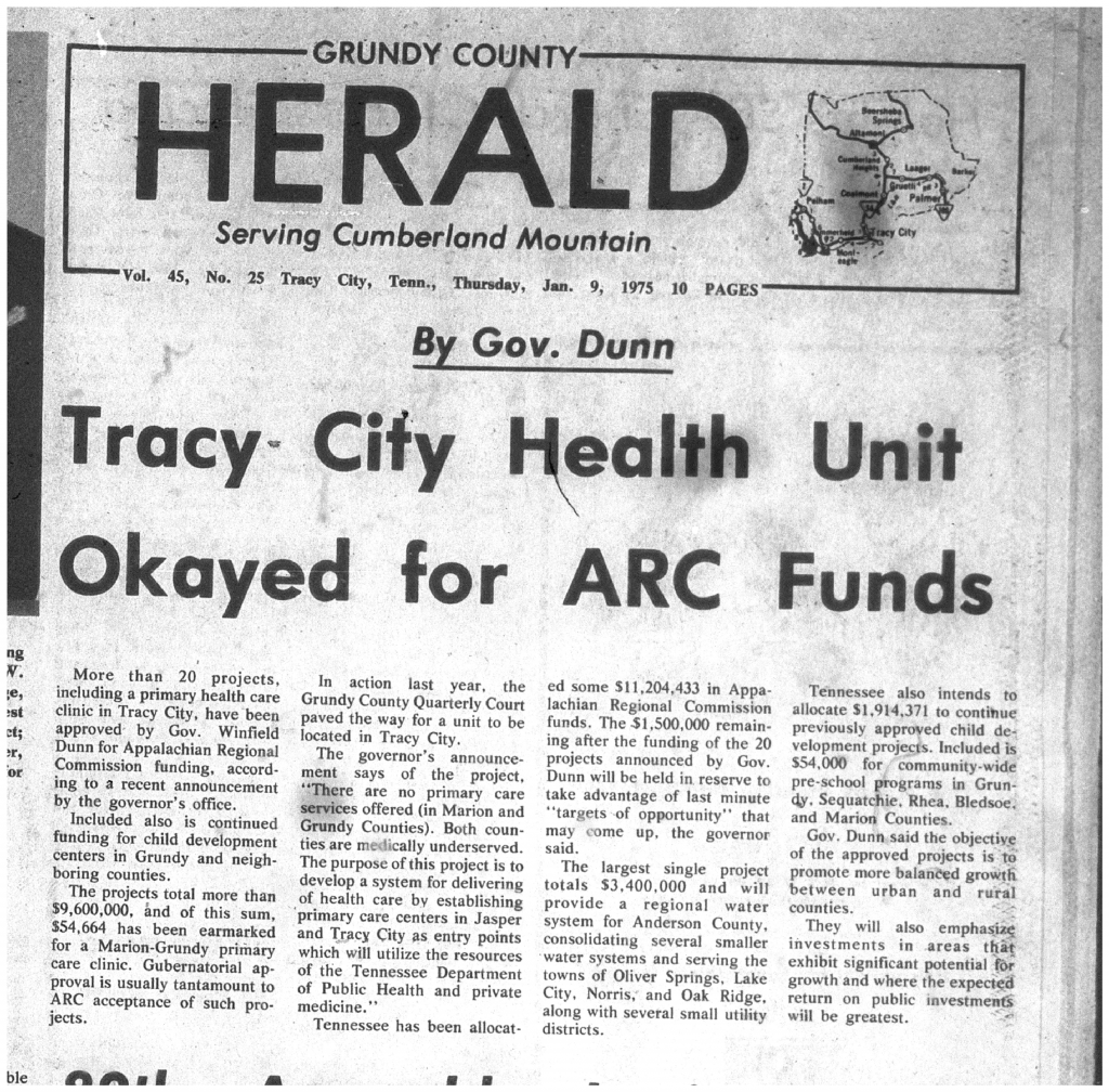 """Tracy City Health Unit Okayed for ARC Funds."" 9 Jan. 1975"