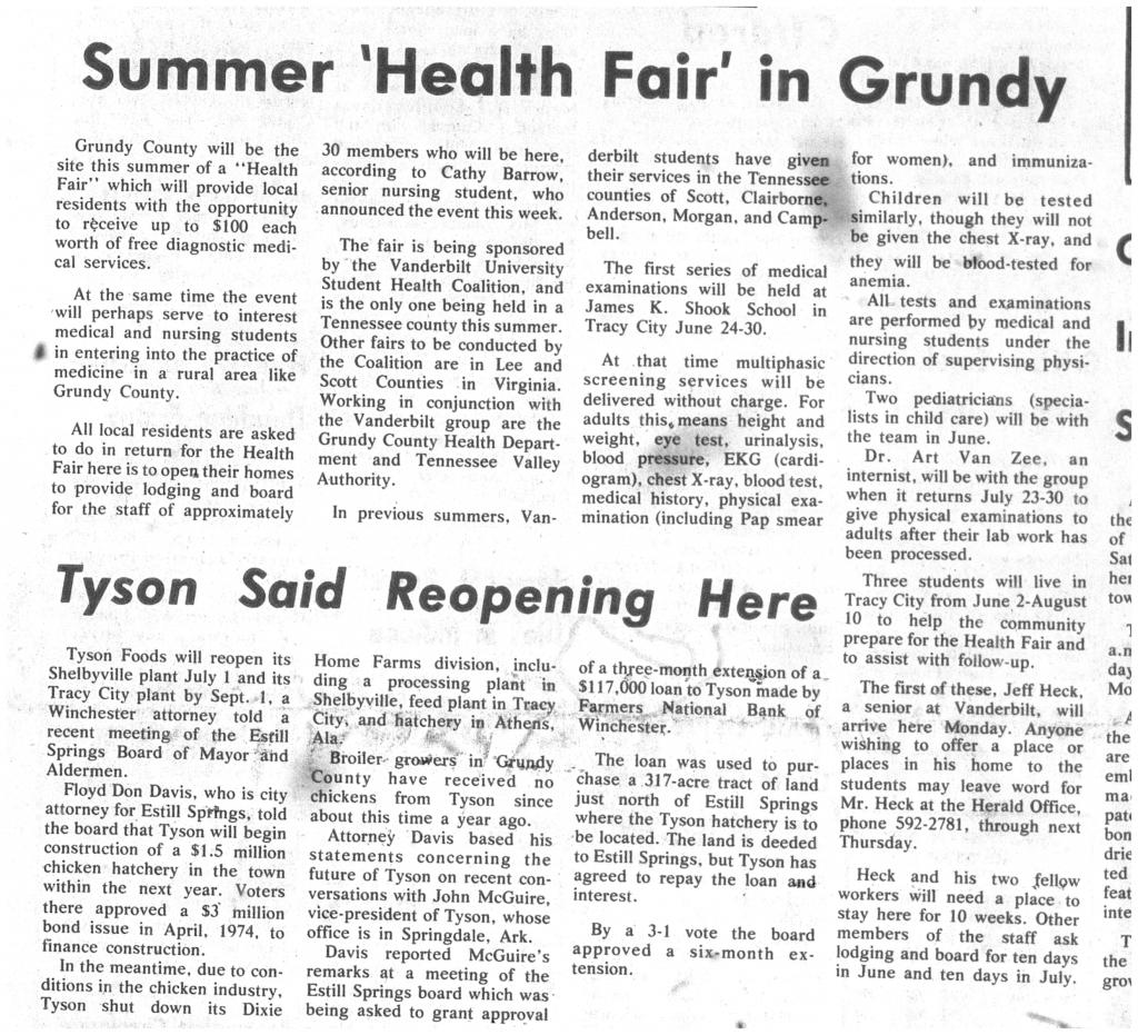 """Summer 'Health Fair' in Grundy"""