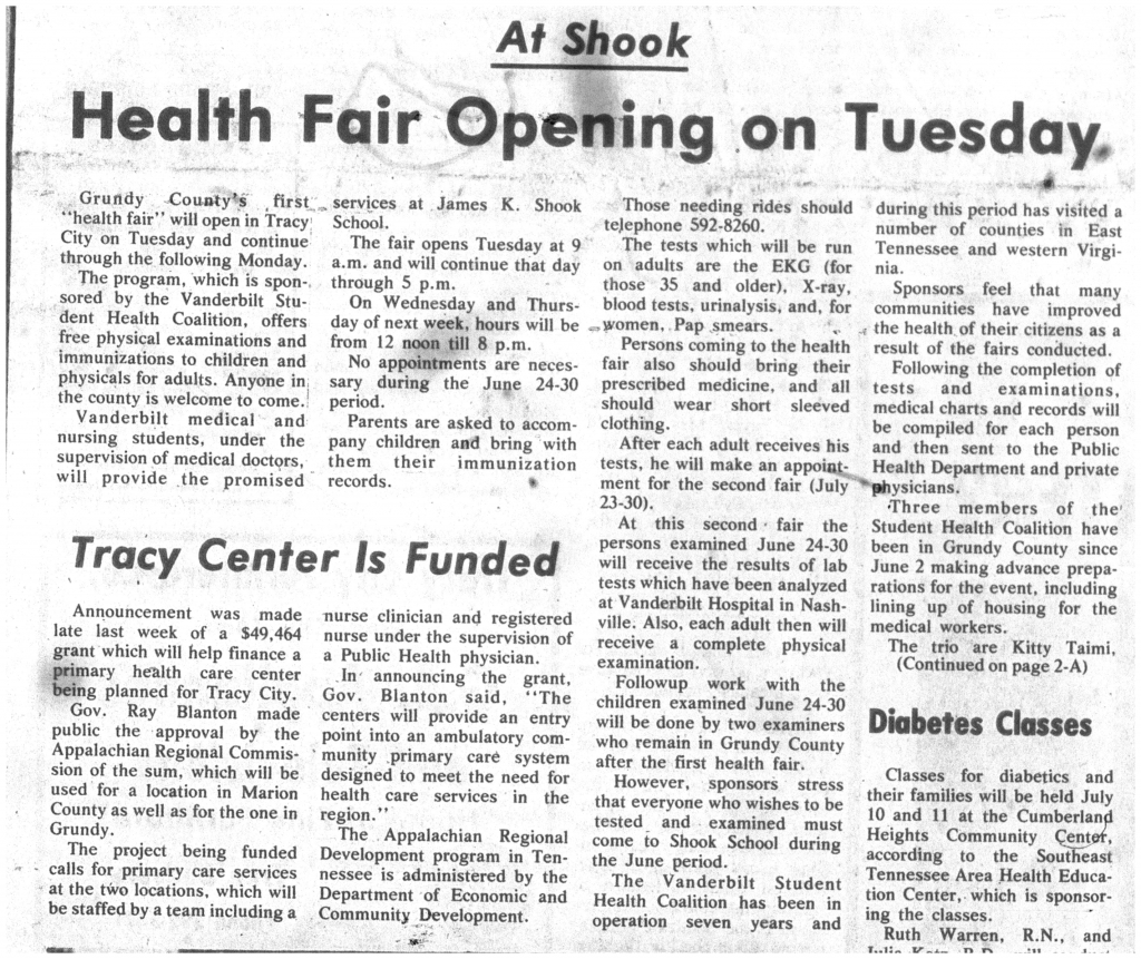 """Health Fair Opening on Tuesday,"" page 1 of 2"