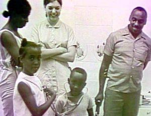 Ann Baile Hamric meets patients at the Smithville Health Fair, Summer 1970.