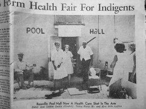 Dana Ellis, RN and community leader Square Mormon at the Health Fair venue, Rossville TN 1973.