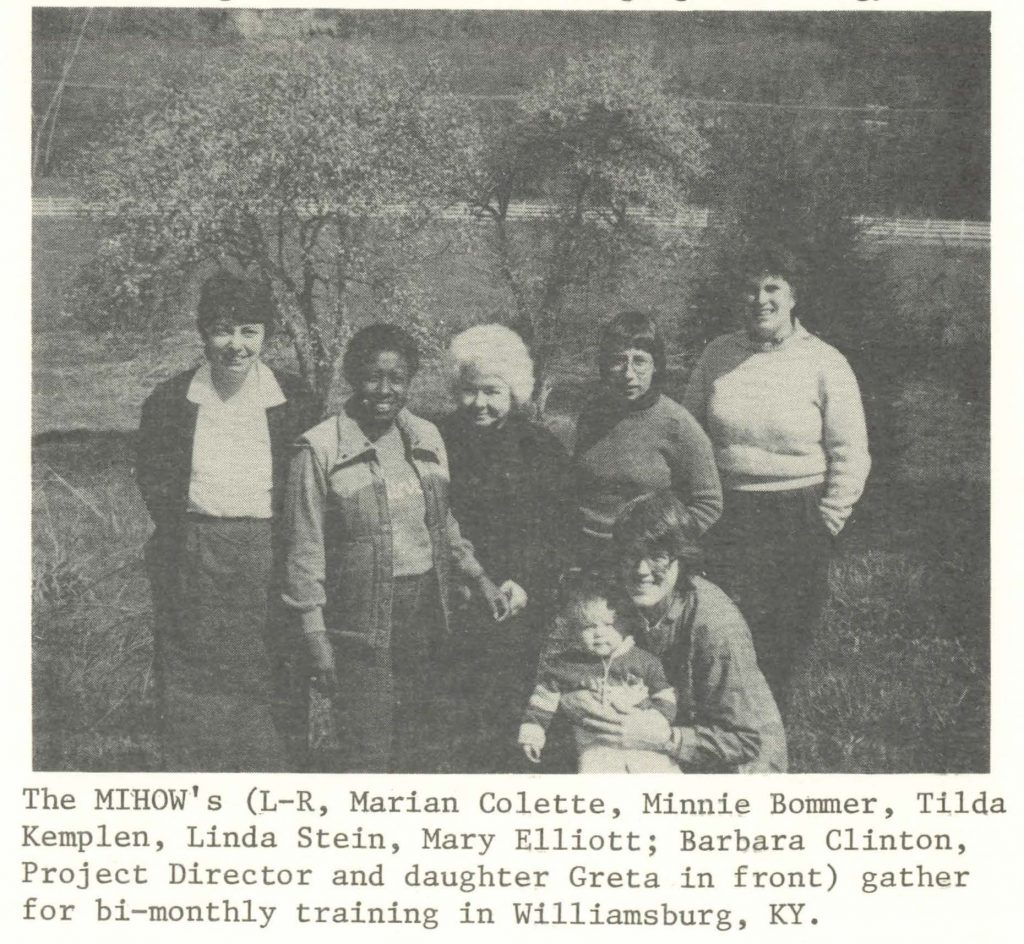 Left to right: Marian Colette, Minnie Bommer, Tilda Kemplen, Linda Stein, Mary Elliott; Barbara Clinton, Project Director and daughter Greta in front